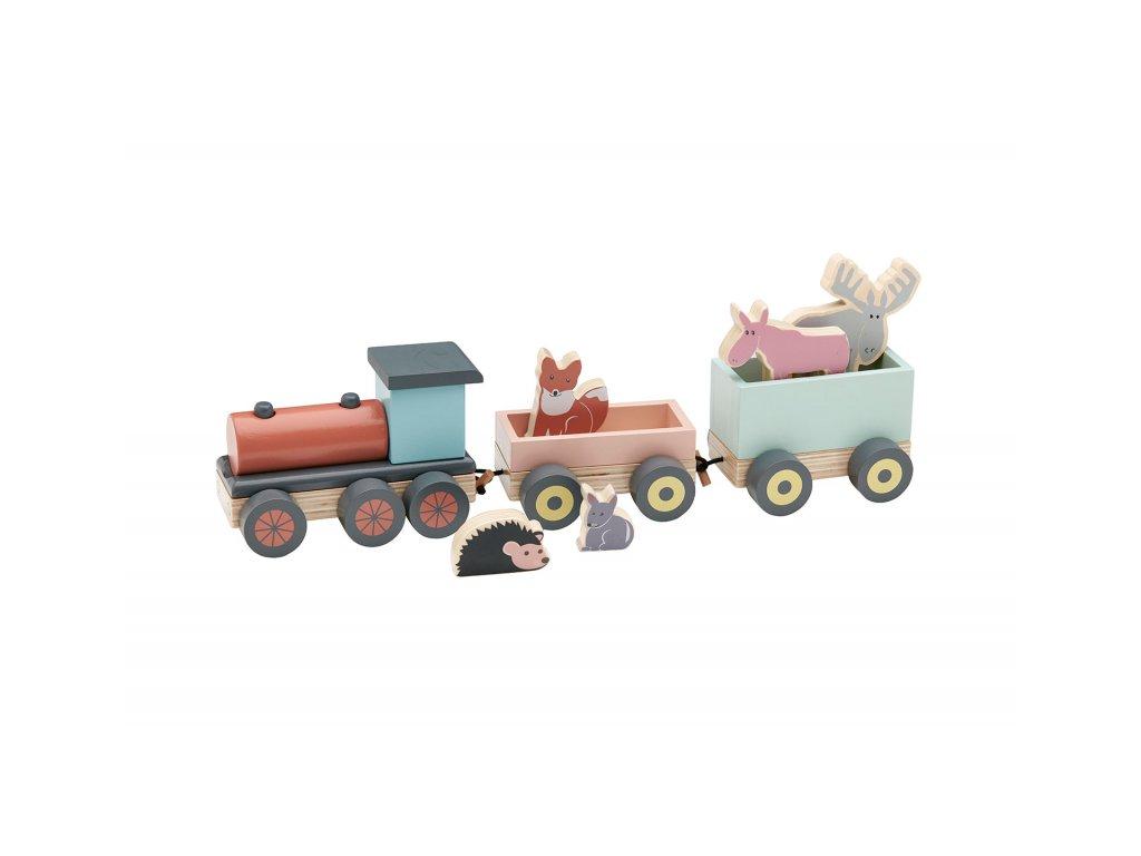 Kids Concept Vlak se zvířátky Edvin dřevěný