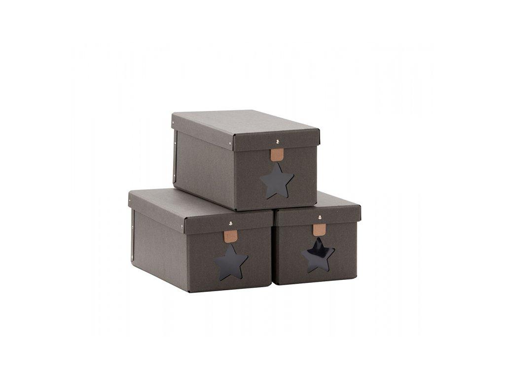 Kids Concept Krabice na boty 3ks Grey