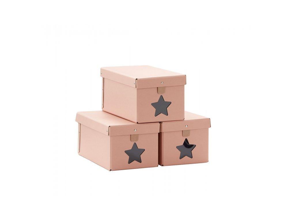 Kids Concept Krabice na boty 3ks Pink