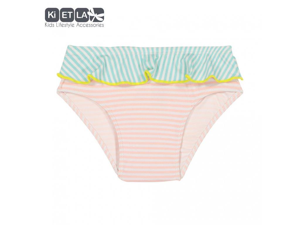 KiETLA plavkové kalhotky s UV ochranou 2 až 3 roky růžovo-zelené