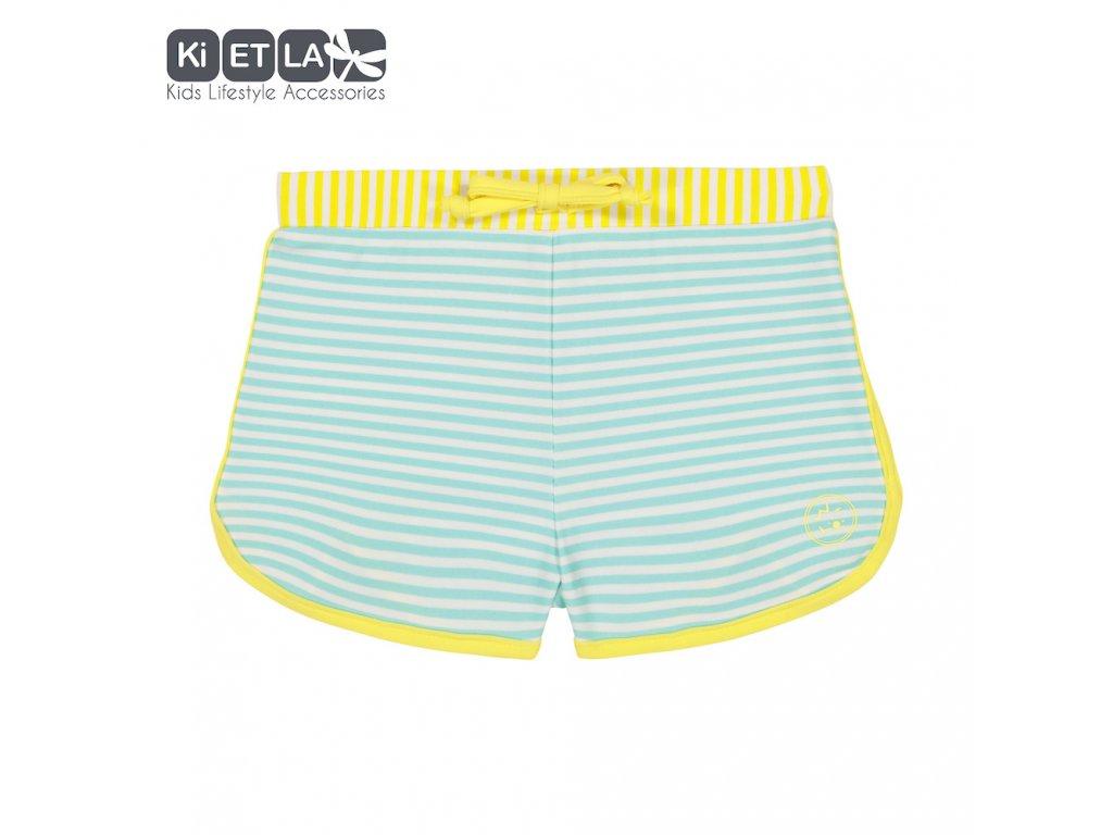 KiETLA plavkové šortky s UV ochranou 2-3 roky zeleno-žluté