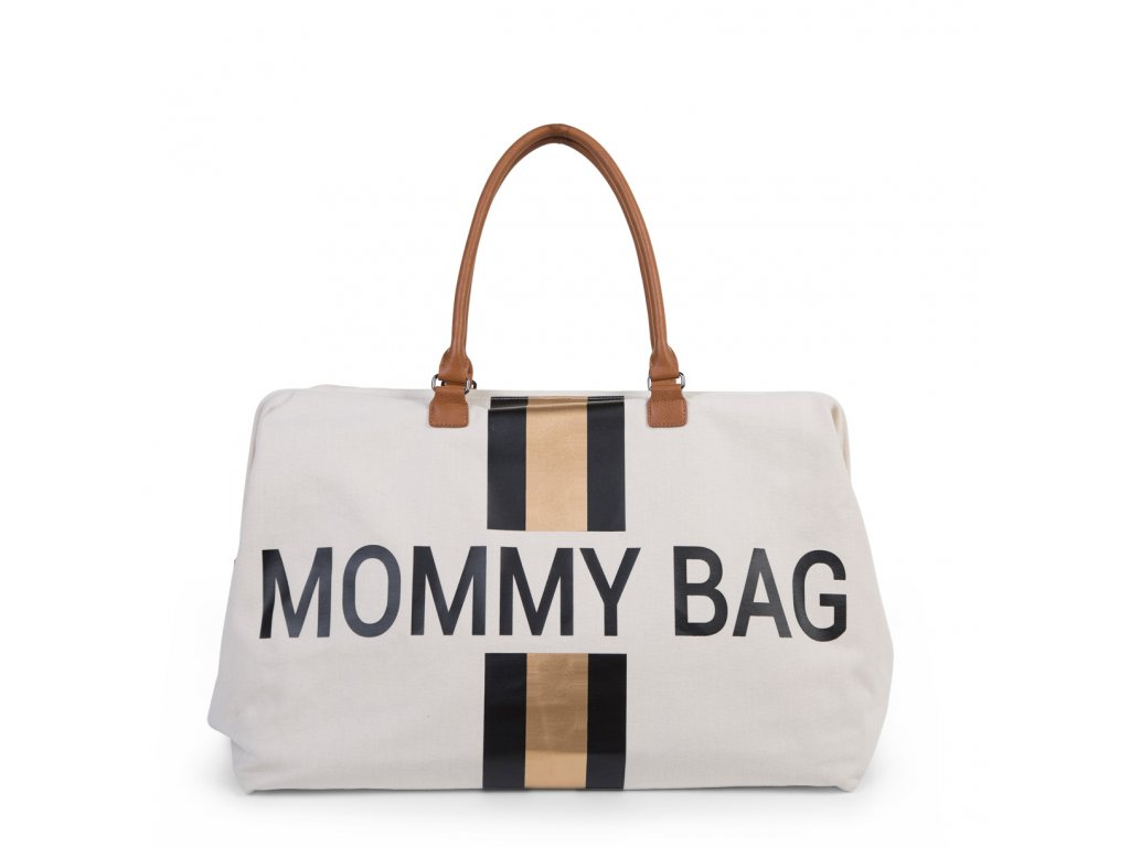 Childhome Přebalovací taška Mommy Bag Big Off White / Black Gold