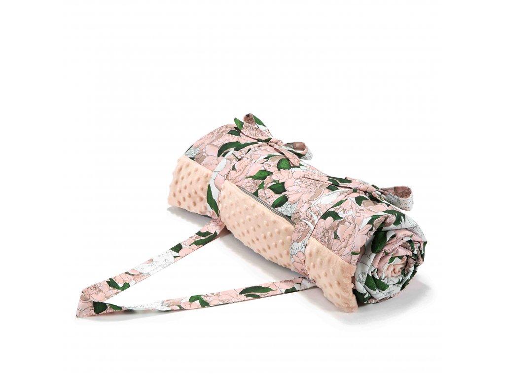 Luxusní pikniková deka La Millou Powder Pink & Lady Peony