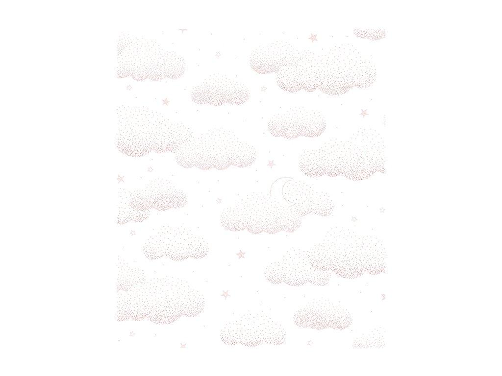 papier peint rose nuage bebe h0530