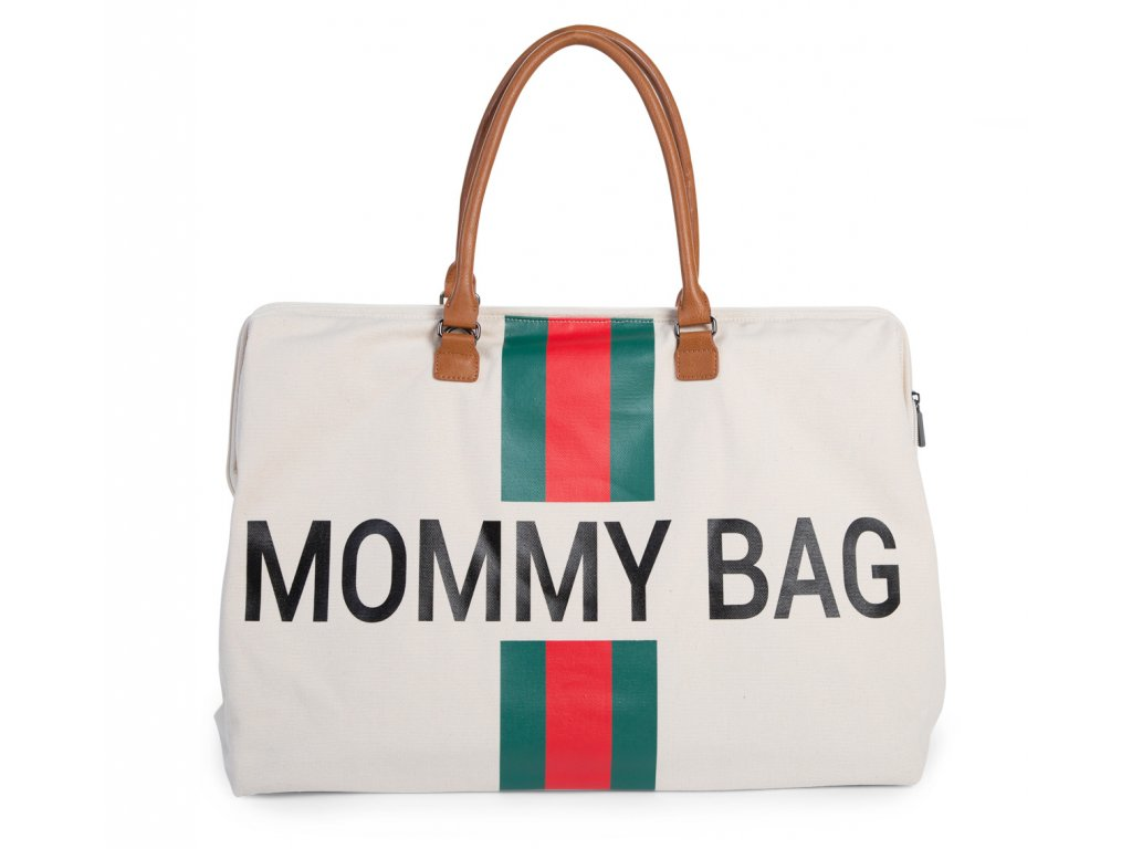 Childhome Přebalovací taška Mommy Bag Big Off White / Green Red