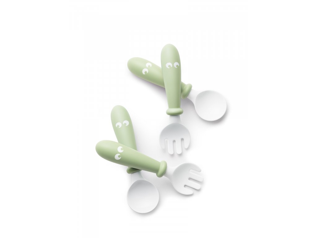 Lžičky a vidličky pro nejmenší pudrově zelené- set 4 ks, BabyBjörn