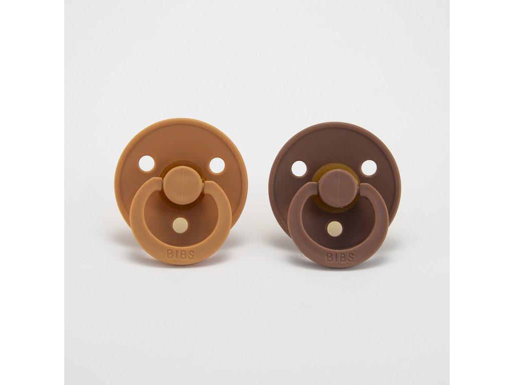 Dudlíky BIBS z přírodního kaučuku 2ks Peach/Woodchuck - VELIKOST 2