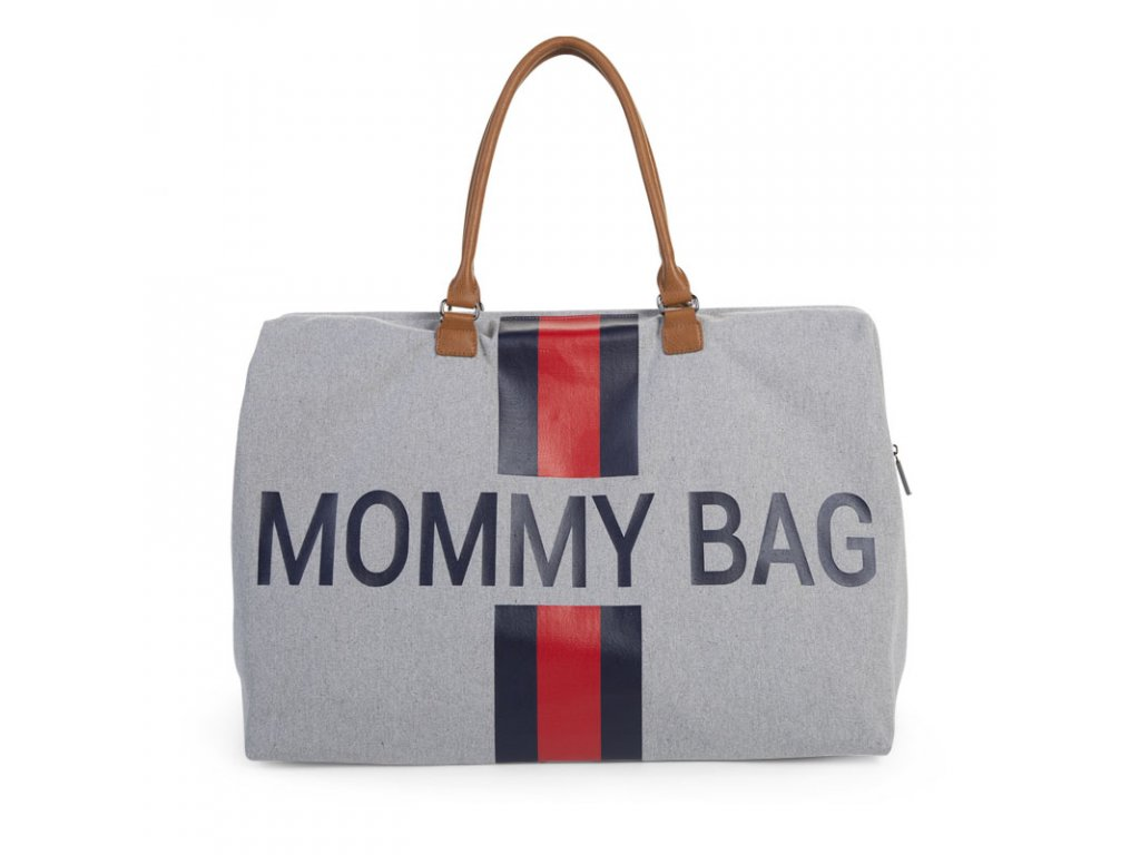 Přebalovací taška Childhome Mommy Bag Grey Stripes Red/Blue