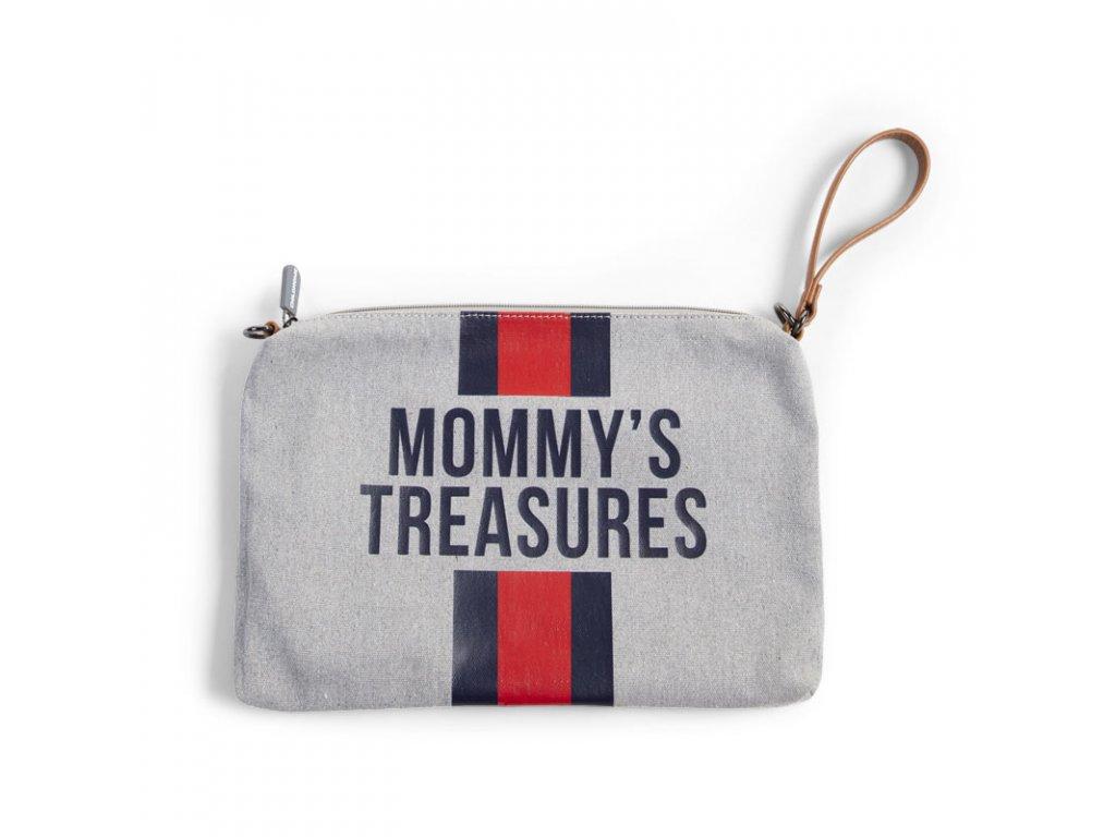 Pouzdro na zip s poutkem Childhome Grey Stripes Red/Blue
