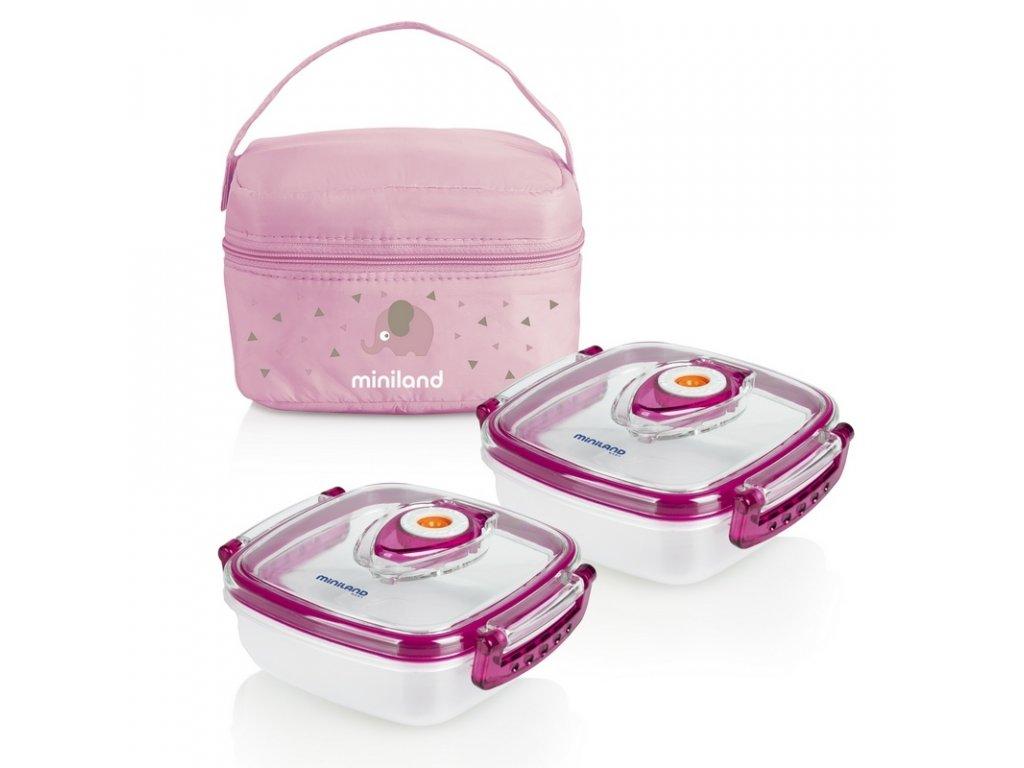 Miniland Termoizolační pouzdro + 2 hermetické misky na jídlo Pink
