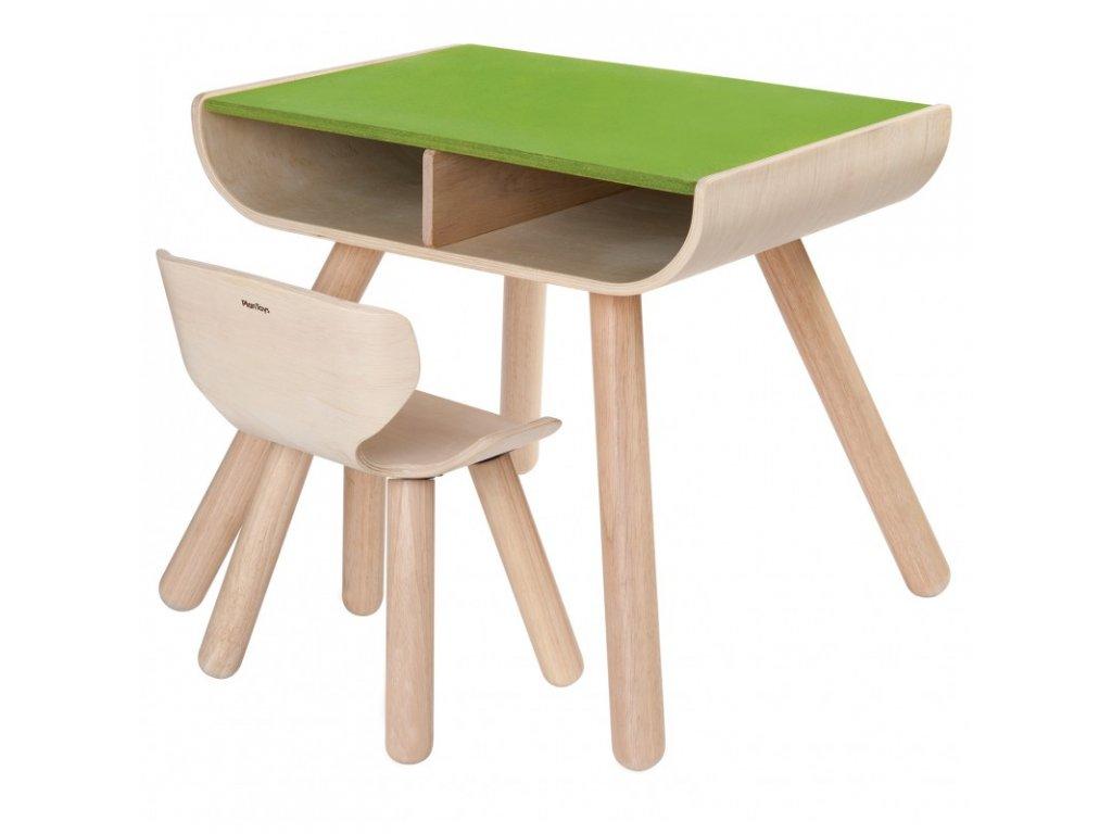 Dětský stolek se židlí  PLAN TOYS zelený