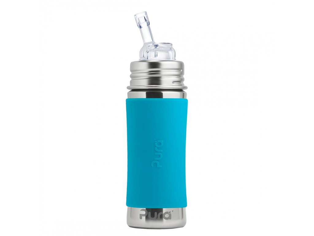 Nerezová lahev PURA s brčkem 325 ml modrá
