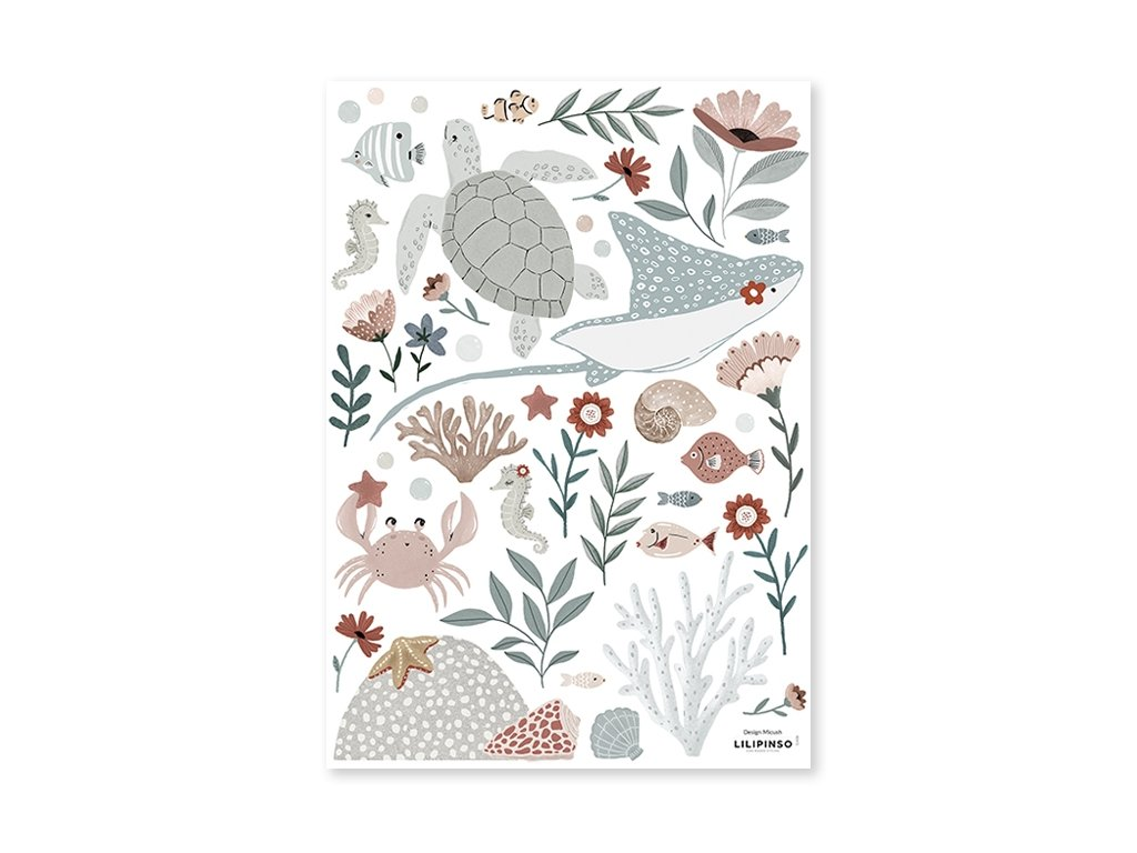 s1408 stickers animaux ocean crabe tortue