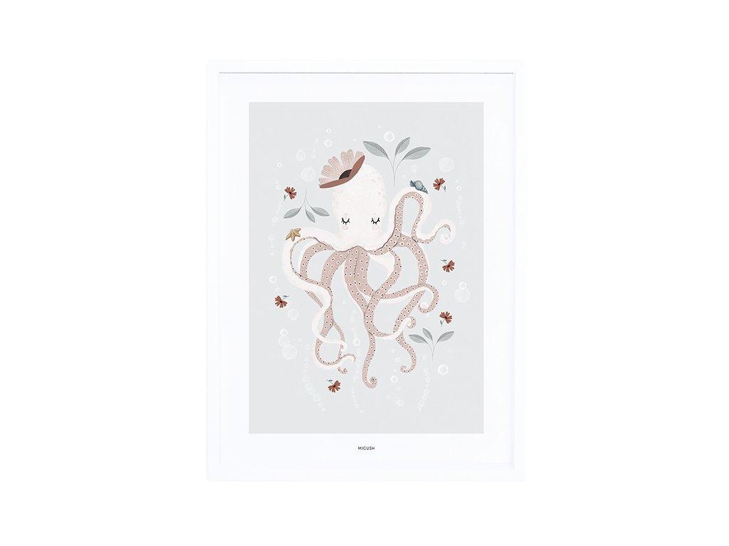 p0300c cadre chambre enfant pieuvre fille ocean