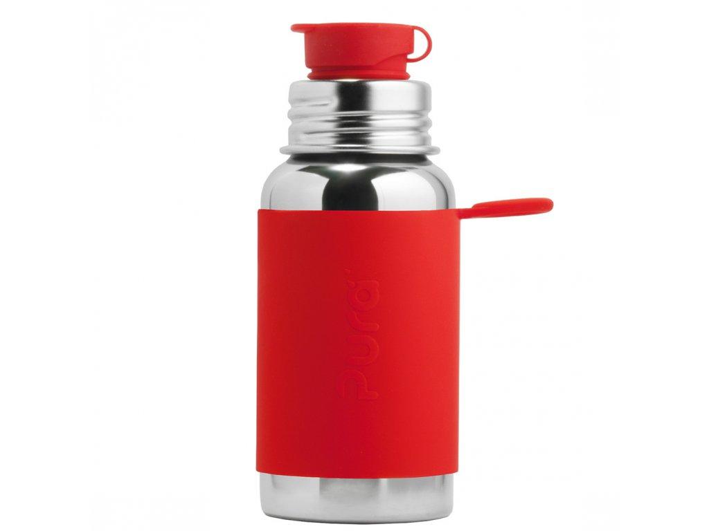 Nerezová lahev PURA se sportovním uzávěrem 550 ml červená