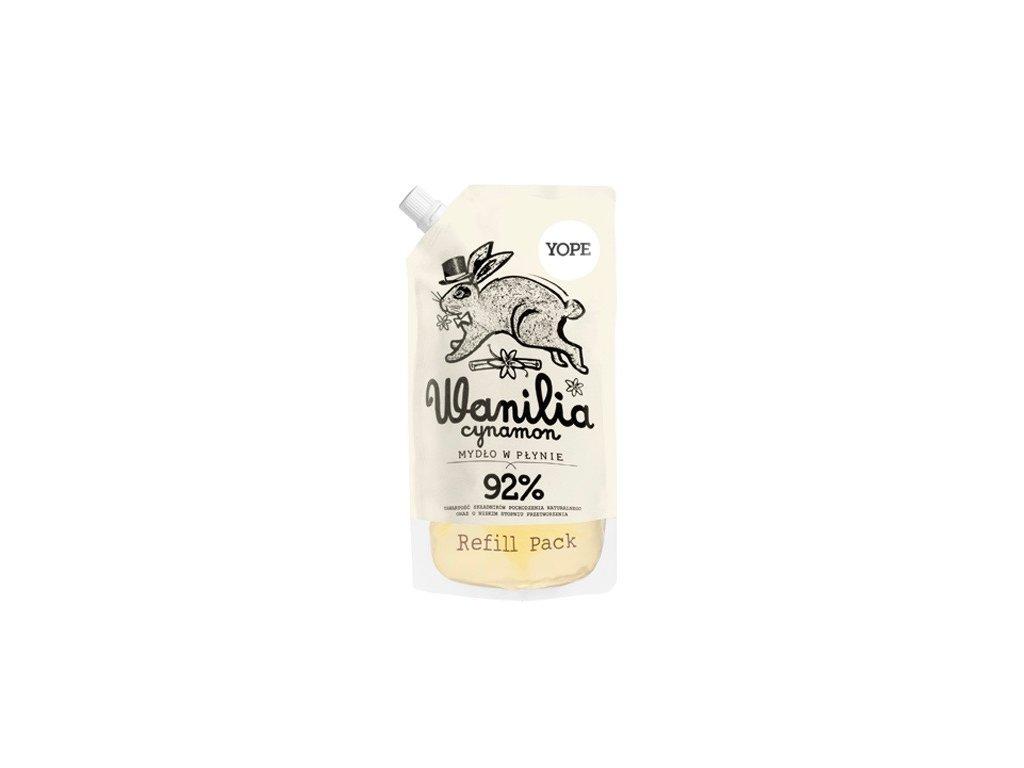 Tekuté koupelnové mýdlo YOPE s vanilkou a skořicí - náhradní náplň 500 ml