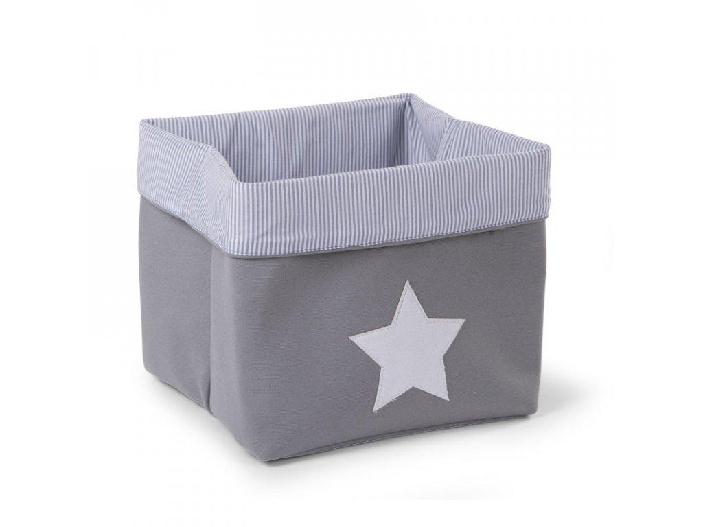 """Úložný box CHILDHOME Grey Strips vysoký """"M"""""""