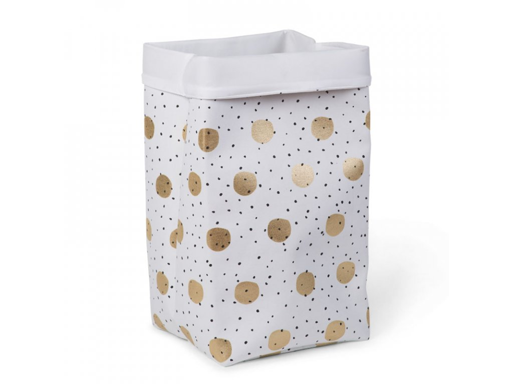 "Úložný box CHILDHOME White gold dots ""L"""