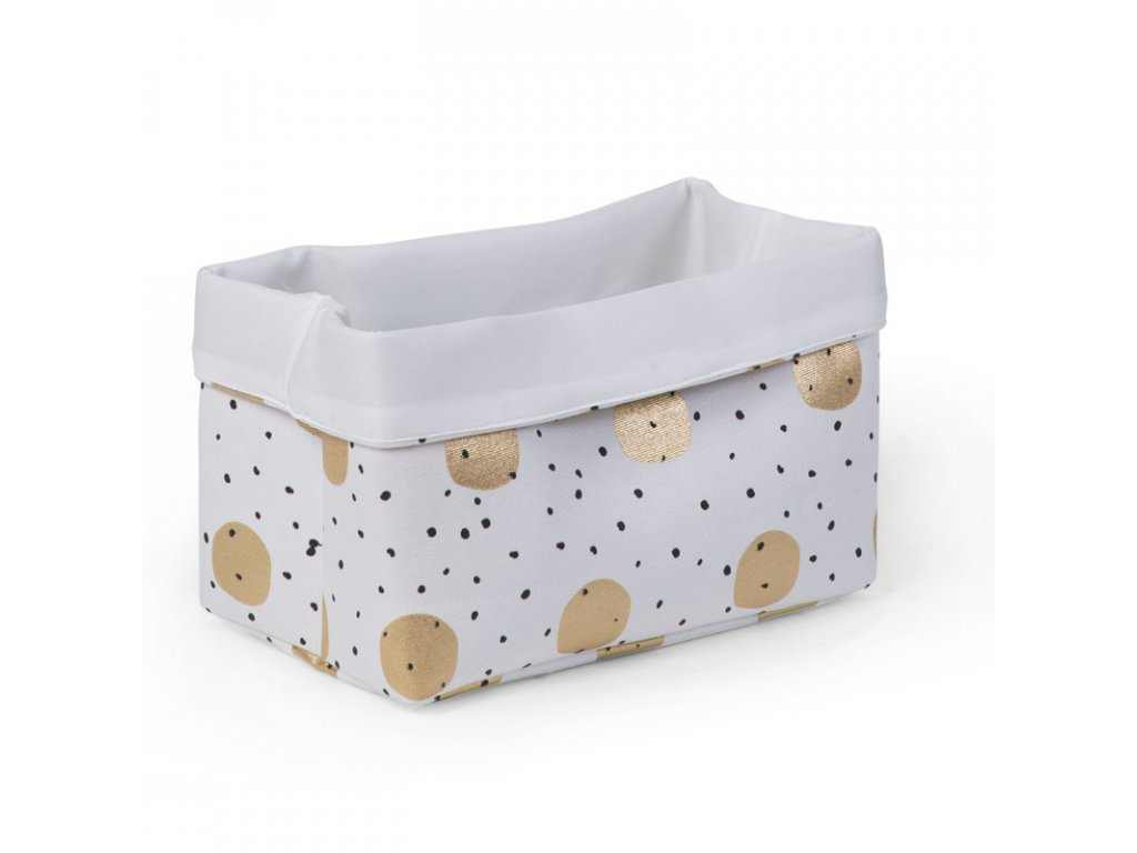 "Úložný box CHILDHOME White gold dots ""S"""