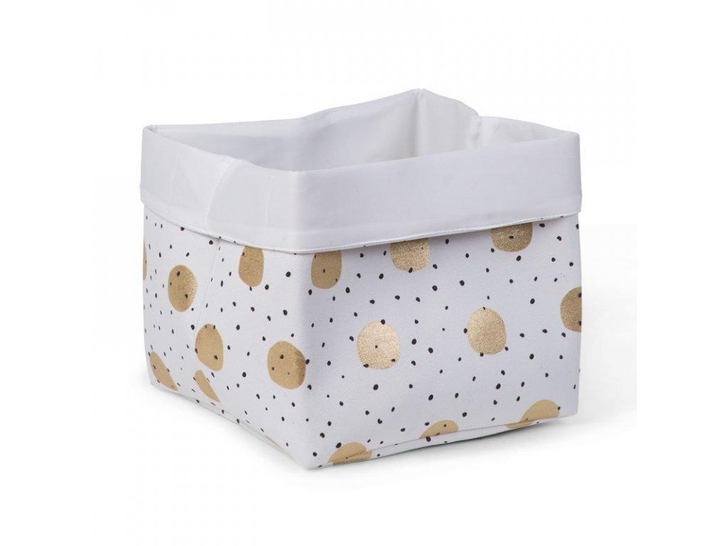 "Úložný box CHILDHOME White gold dots vysoký ""M"""