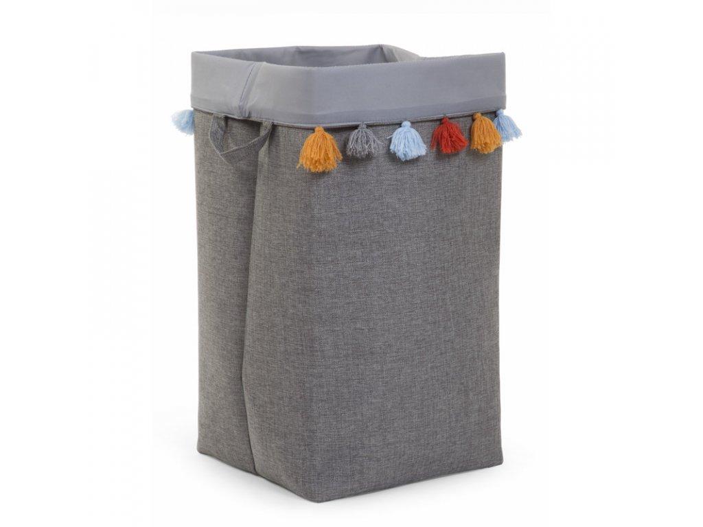 """Úložný box CHILDHOME Dark grey s barevnými třásněmi """"L"""""""