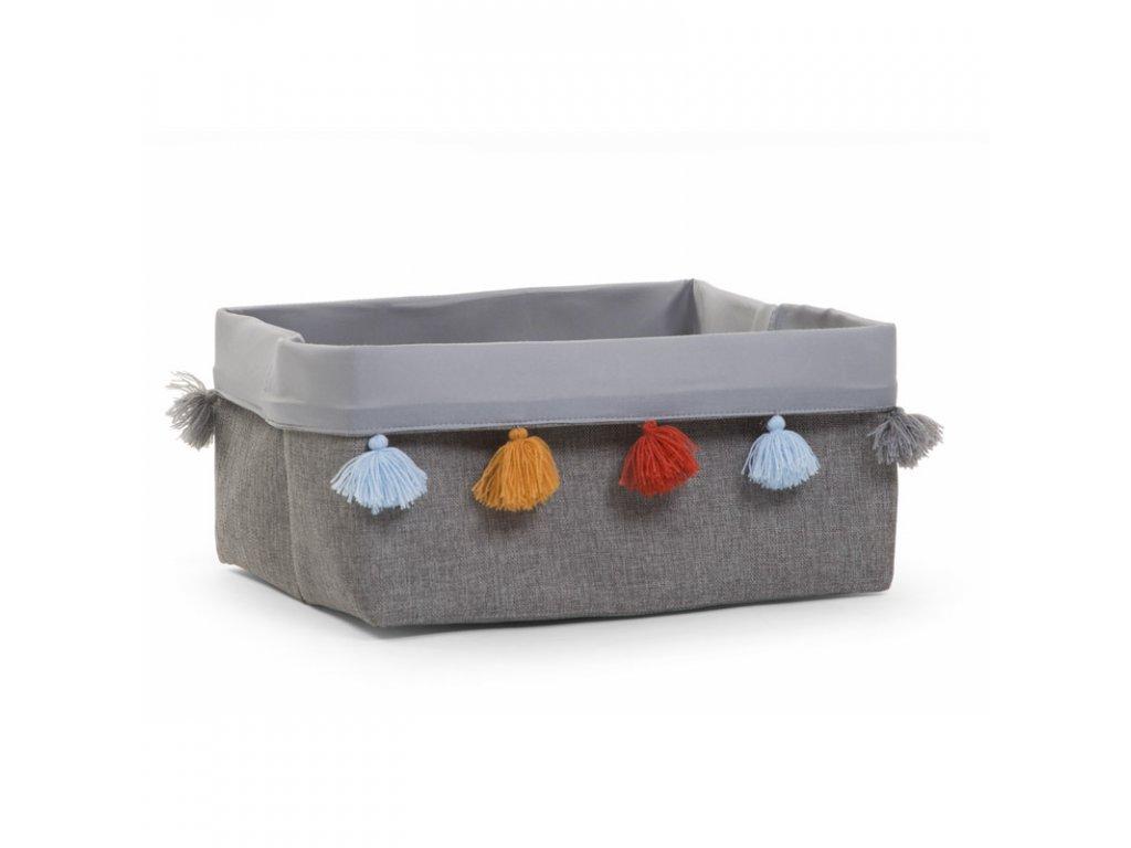 """Úložný box CHILDHOME Dark Grey s barevnými třásněmi """"S"""""""