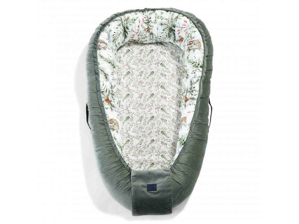 Luxusní hnízdo pro miminko La Millou Velvet collection Khaki & Forest