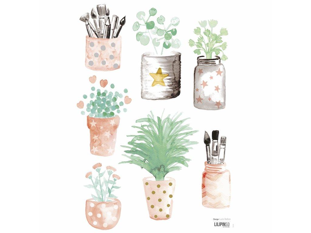 Samolepka LILIPINSO Little flower pots A3