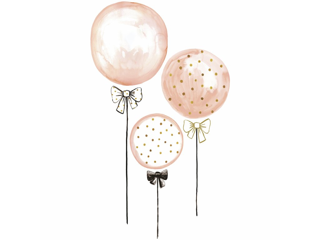 Samolepka LILIPINSO Pink balloons with gold dots XL