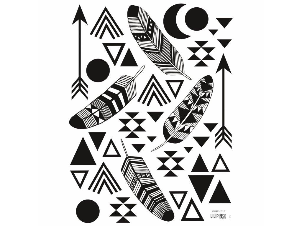 Samolepka LILIPINSO Feathers and geometric patterns