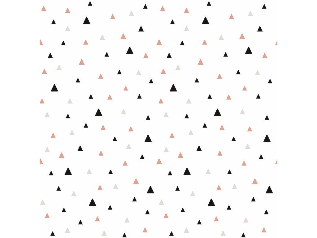 Tapeta LILIPINSO Small triangles black and coral 50 cm x 10 m