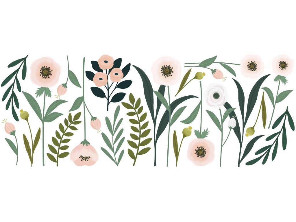 "Samolepka LILIPINSO Big flowers pink and beige ""XL"""
