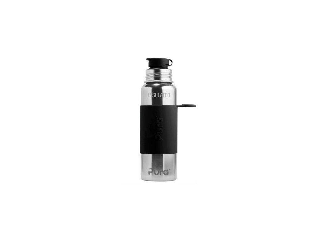 Nerezová TERMO lahev Pura se sportovním uzávěrem 650 ml černá