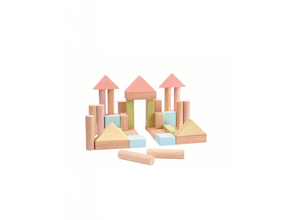 Stavební kostky PLAN TOYS 40 ks pastelové