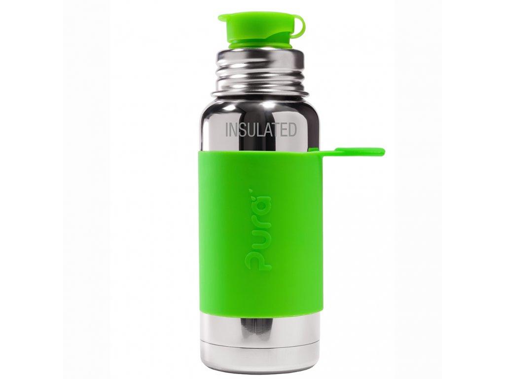 Nerezová TERMO lahev Pura se sportovním uzávěrem 475 ml zelená