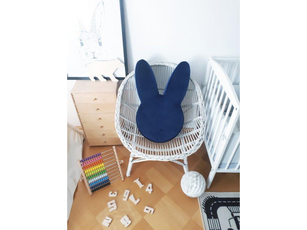 Dětský puf Ba bam ve tvaru zajíce Navy blue