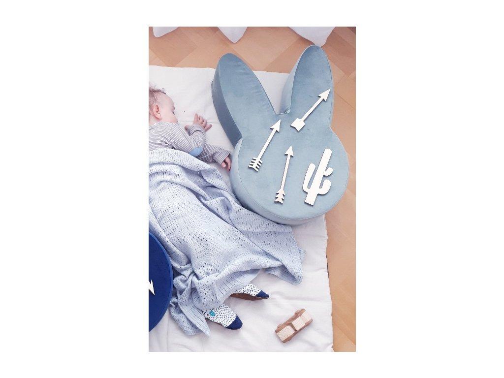 Dětský puf Ba bam ve tvaru zajíce Gray mint