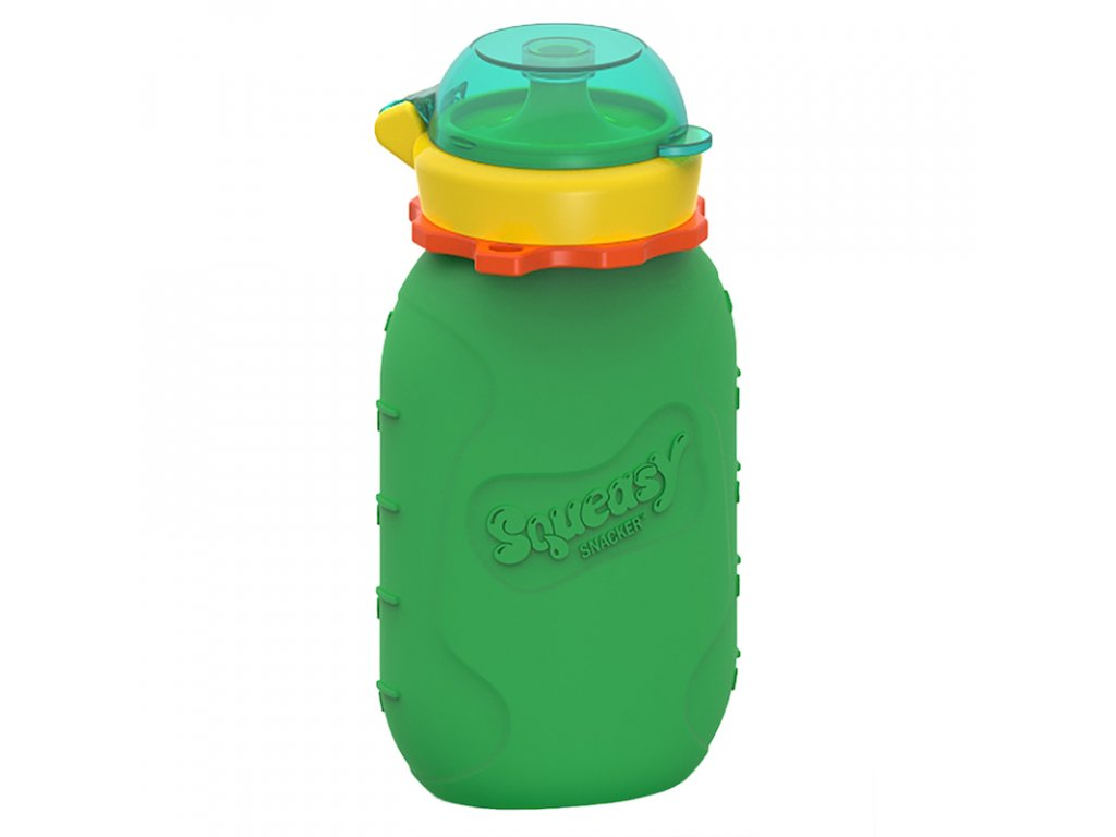 Silikonová kapsička Squeasy Snacker 180 ml zelená