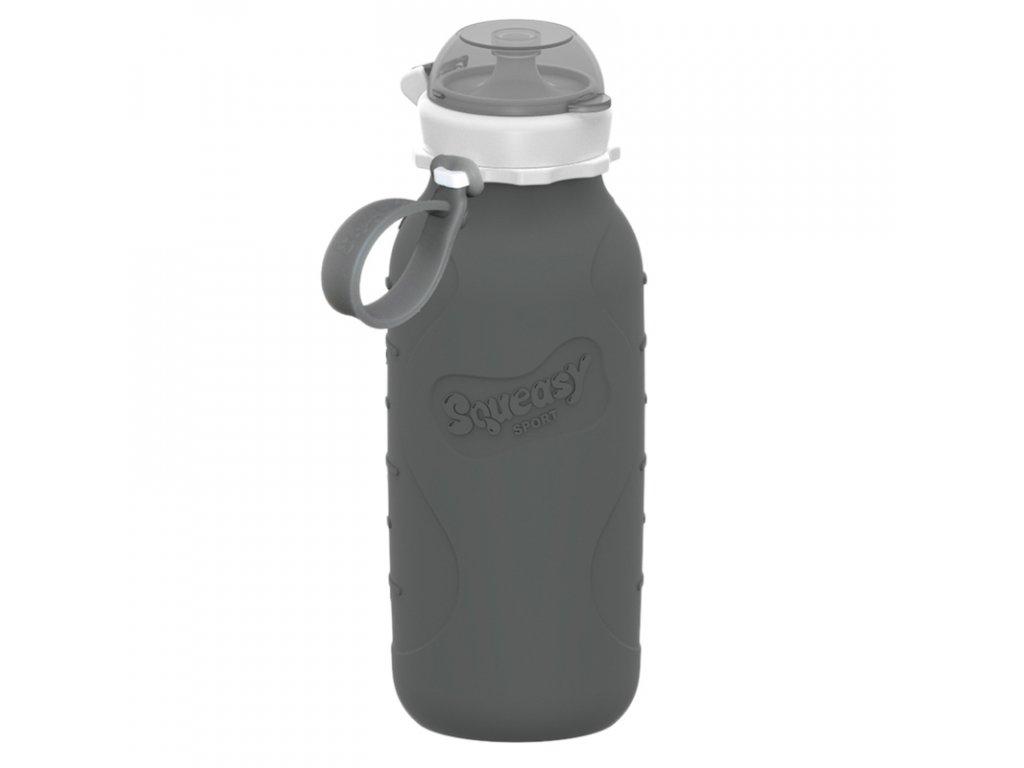 Silikonová láhev Squeasy Sport 480 ml šedá