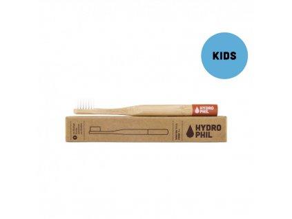 Bambusový kartáček pro děti Hydrophil soft červený