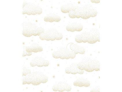 papier peint bebe nuages or h0529