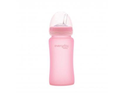 Láhev sklo s brčkem Everyday Baby 240ml rose pink