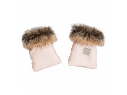 Rukavice na kočárek s kožešinou pink powder