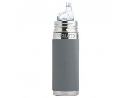 Nerezová TERMO lahev Pura s náustkem 260 ml šedá