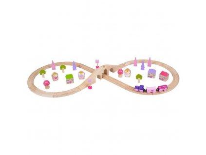 Bigjigs Rail Dřevěná vláčkodráha osmička pro princezny 35 dílů