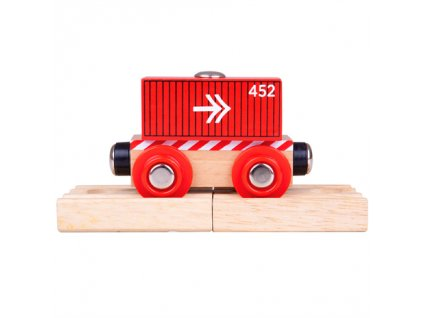 Bigjigs Rail Vagón červený kontejner