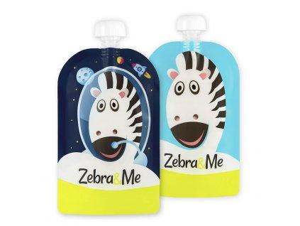 Kapsička na dětskou stravu Zebra& Me 2 ks Kosmonaut/Zebra