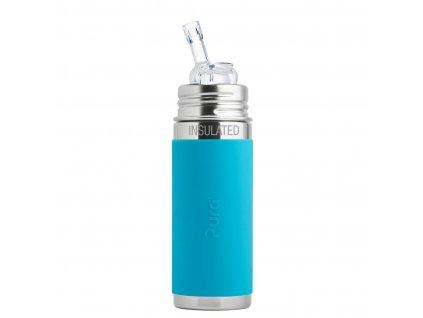 Nerezová TERMO lahev Pura s brčkem 260 ml modrá
