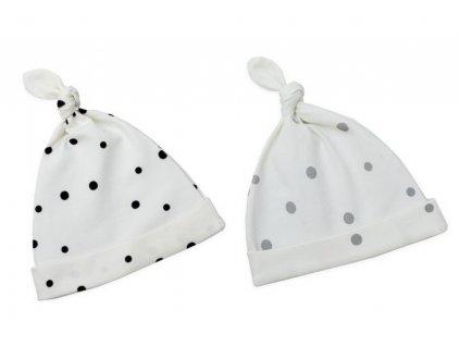 Dětské čepice 0-2 měsíce - sada dvou kusů černé tečky/šedé tečky