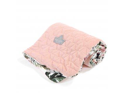 """Prošívaná deka La Millou VELVET COLLECTION Powder pink & Wild blossom """"M"""""""